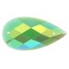 Glitter Sew-on Stone 10pcs Drop 16x30mm Green Aurora Borealis